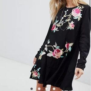 ASOS Embroidered Floral Mini Drop Waist Dress 6